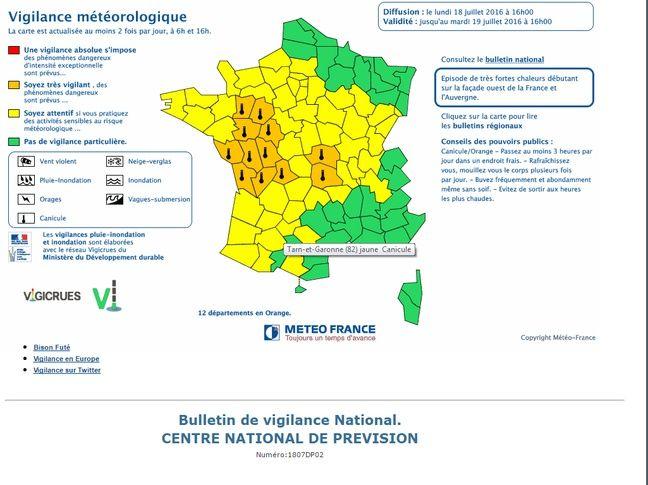 Douze départements du centre-ouest de la France sont en vigilance orange canicule entre le 18 et le 20 juillet 2016.