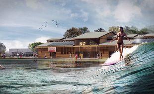 Image de synthèse du projet de surf park Bordeaux