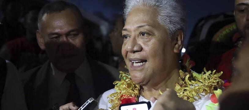 Fiame Naomi Mata'afa lors de sa prestation de serment en temps que Première ministre des Samoa le 23 mai 2021