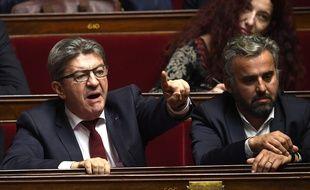 Les députés de la France insoumise Jean-Luc Mélenchon et Alexis Corbière le 17 octobre 2018 à l'Assemblée nationale.
