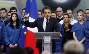 Nicolas Sarkozy lors de ses voeux aux forces économiques le 13 janvier 2011 dans une usine Airbus près de Toulouse.