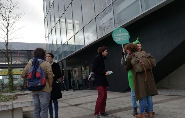 Un militant de l'association Animalsace déguisé en légume et militant pour des repas végétaliens aux restos U de la ville reçoit un câlin sur le campus de l'Esplanade à Strasbourg.