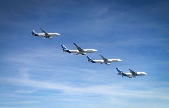 Illustration d'une flotte d'avions Airbus.