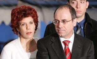 Paris, le 14 Février 2005. Judy Mozes et son mari Silvan Shalom.