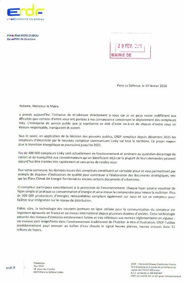 La lettre rédigée par Philippe Monloubou, président du directoire d'ErdF