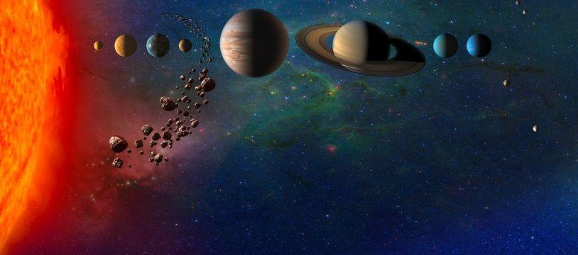 Illustration: les huit planètes du système solaire.