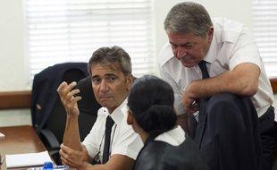 Saint-Domingue (République dominicaine), le 05 juin 2015. Bruno Odos (gauche) et Pascal Fauret comparaissent au tribunal dans l'affaire dite «Air Cocaïne».
