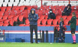 Thomas Tuchel sur le banc du PSG lors du match contre Manchester United en Ligue des champions, le 20 octobre 2020.