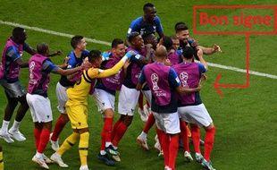 La joie des Bleus après le but de Pavard lors de France-Argentine, le 30 juin 2018.