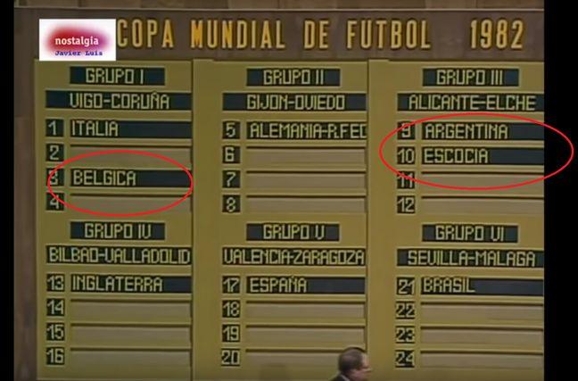 La Belgique avec l'Italie et l'Ecosse avec l'Argentine???