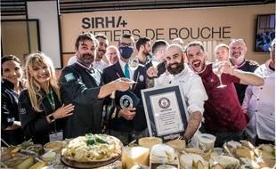 Les nouveaux recordmen du monde de la pizza aux fromages, samedi 25 septembre au Sirha.