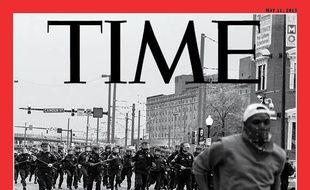La Une du Time Magazine, où l'on retrouve une photo de Devin Allen, habitant de Baltimore, avec le Titre «America 1968», en référence aux émeutes de la même année, barré et remplacé par «2015».