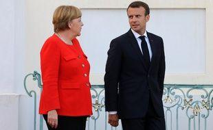 Angela Merkel et Emmanuel Macron, le 19 juin 2018 à Meseberg en Allemagne.