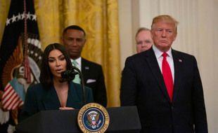 La femme d'affaires Kim Kardashian et le président des Etats-Unis Donald Trump à la Maison Blanche
