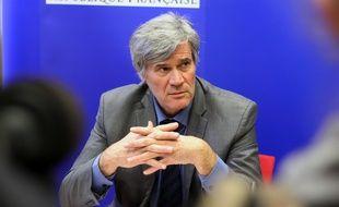 Le ministre de l'Agriculture Stéphane Le Foll ici à Rennes lundi 22 février 2016 pour signer le plan de soutien de la filière porcine.