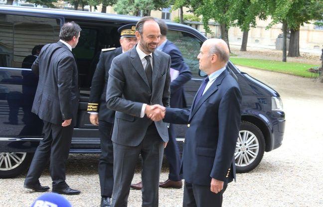 Accueil du Premier ministre Edouard Philippe par Alain Juppé à l'hôtel de ville de Bordeaux, le 20 octobre 2017