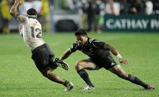Pita Ahki avec l'équipe de Nouvelle-Zélande de rugby à VII au tournoi des Hong Kong Sevens, le 10 avril 2016.