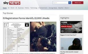 Capture d'écran du site internet de Sky News faisant état d'une liste de 22.000 djihadistes.