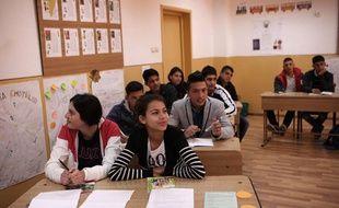 Les élèves de l'école de Fantanele, près de Bucarest, le 6 novembre 2014.