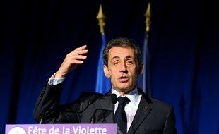 Nicolas Sarkozy, président du parti Les Républicains, lors de son discours à la fête de la violette, le 4 juillet 2015, à La Ferte-Imbault (Loir-et-Cher).