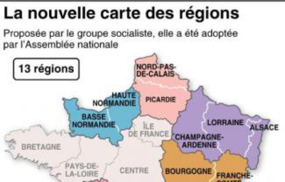 La Carte du redécoupage des régions de France, votée par le Parlement, a été modifiée par le Sénat. – J. M. Cornu/P. Defosseux AFP