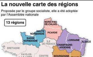 La Carte du redécoupage des régions de France, votée par le Parlement, a été modifiée par le Sénat.