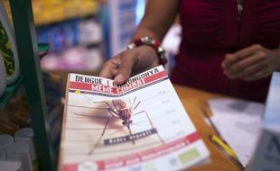 Une femme présente de la documentation sur le virus du chikungunya à Lamentin, près de Fort-de-France, le 10 juillet 2014