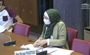 Maryam Pougetoux, la vice-présidente de l'Unef lors de la commission à l'Assemblée.