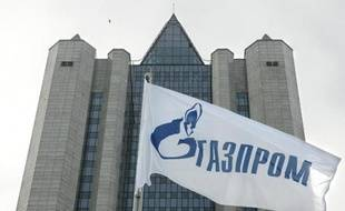 Le logo de Gazprom, le géant du gaz russe