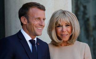 Emmanuel et Brigitte Macron, à l'Elysée, le 22 août 2019.