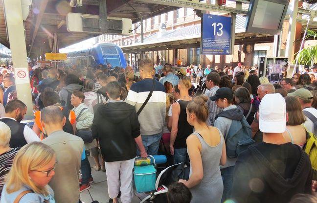 Départ du premier train pour la mer depuis la gare de Lille-Flandres, le 6 juillet, pour l'opération éTER.