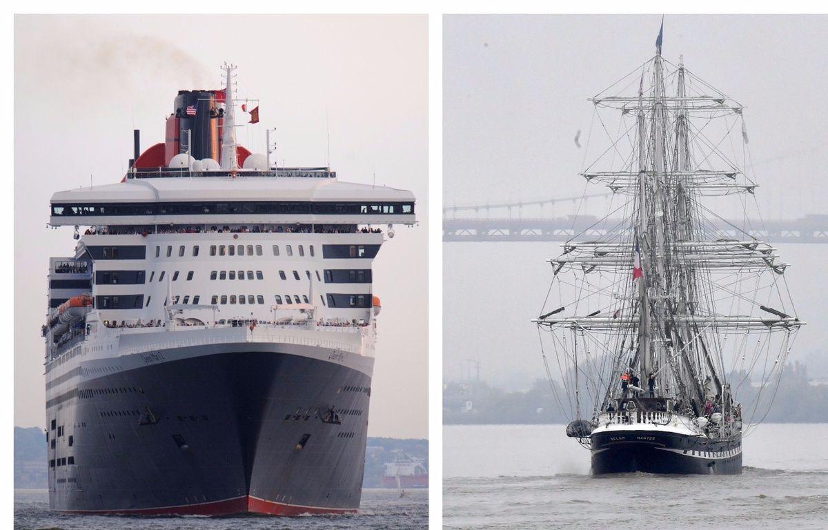 Le Queen Mary 2 (à gauche) et le Belem (à droite). – Don Emmert / Georges Godet
