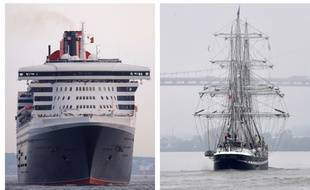 Le Queen Mary 2 (à gauche) et le Belem (à droite).