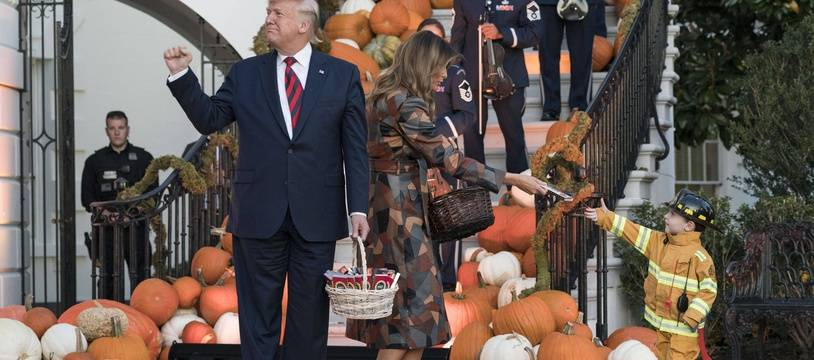 President Donald Trump and first lady Melania Trump participate in a Halloween celebration on the South Portico of the White House in Washington, DC on Monday, October 28, 2019.