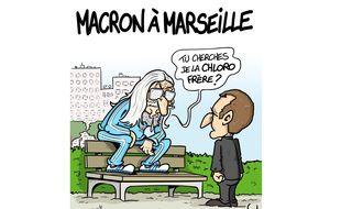"""Ce dessin de Dadou mettant en scène le professeur Raoult et Emmanuel Macron a été le point de départ de sa BD """"Chloro King""""."""