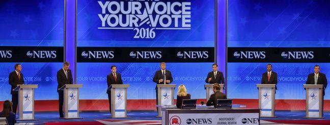 Un débat télévisé en tre les candidats de la primaire républicaine, aux Etats-Unis, le 6 février 2016.