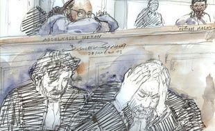 Dessin d'audience au procès d'Abdelkader Merah et Fettah Malki, le 31 octobre 2017 à Paris.