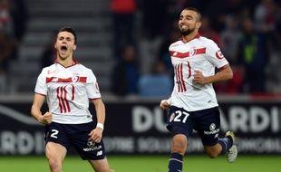 La joie de Corchia et Sliti après la victoire contre Bastia