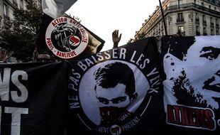 Une photo de Clément Méric lors d'une manifestation à Paris, le 14 septembre 2018.