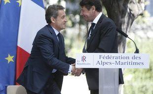 Nicolas Sarkozy et Christian Estrosi à Nice le 26 avril 2016.