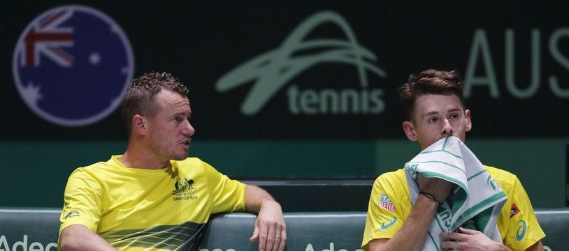 Lleyton Hewitt et Alex De Minaur, lors de la Coupe Davis à Madrid.