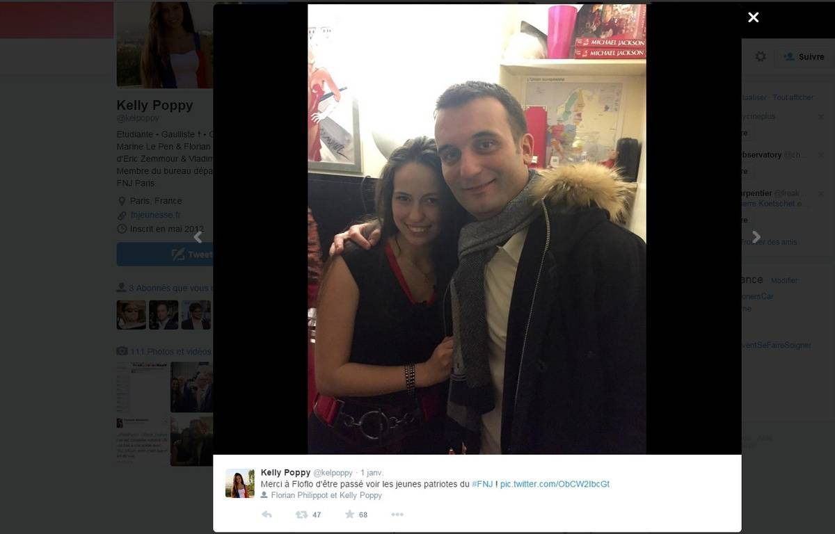 Capture d'écran d'un tweet de la militante FN Kelly Poppy. – DR