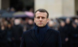 Emmanuel Macron lors de l'hommage à Jean Daniel, aux Invalides.