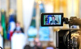 Emmanuel Macron lors d'une conférence de presse à l'Elysée le 10 avril 2018.