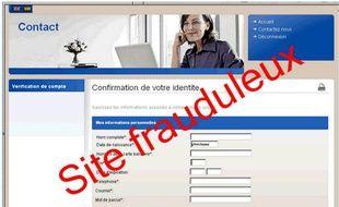 Le site frauduleux dénoncé par l'Urssaf.