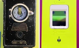 """Un compteur d'électricité datant de 1910 (gauche) et le nouveau compteur """"intelligent"""" Linky du gestionnaire du réseau électrique français de proximité ERDF"""
