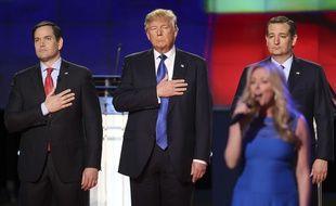 Les candidats républicains Marco Rubio, Donald Trump et Ted Cruz, lors du débat du 25 février 2016.