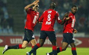 Les Lillois Rami, Sow et Chedjou se congratulent le 7 novembre, contre Brest, au Stadium Nord.