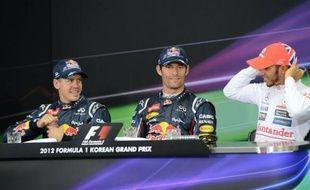 L'Australien Mark Webber (Red Bull) partira en pole position dimanche pour le Grand Prix de Corée du Sud, 16e manche (sur 20) du Championnat du monde de Formule 1, après avoir signé le meilleur temps des qualifications samedi sur le circuit de Yeongam.