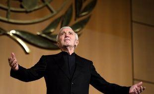 Charles Aznavour le 13 mars 2018 à Genève.